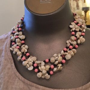 56 in shell and pink black bead necklace. 1960as